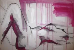 Kohle und Acryl auf Leinwand, 2014, 70x50